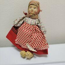 Antique Soviet Union Plaster Cloth Handmade Russian Doll