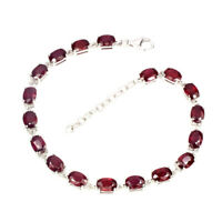 Oval Red Ruby 7x5mm 18pcs White Gold Plate 925 Sterling Silver Bracelet 9inches