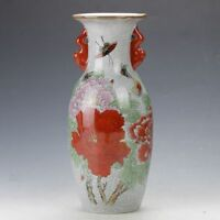 Collection Old China FAMILLE ROSE PORCELAIN HAND-PAINTED BUTTERFLY & FLOWER VASE