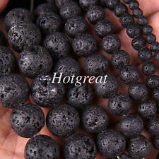 48 Pcs 8mm Black Lava Stone Natural Round Loose Spacer Beads Necklace Making