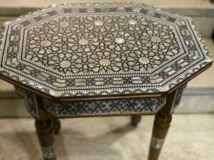 """Antique wood End Table Inlaid Mother of Pearl (19.6""""x14"""")"""