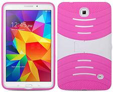 Samsung Galaxy Tab 4 8.0 HYBRID Hard Gel Rubber KICKSTAND Cover + Screen Guard