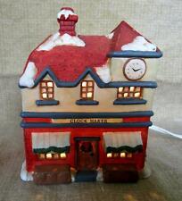 1991 Vintage Christmas Streets Porcelain Clock Maker Lighted Village Building