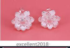 Zircon Ear Stud Earrings Lotus Flower Fashion Women 925 Sterling Silver Elegant