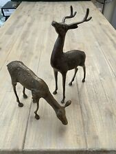 More details for pair of bronze deer ornaments, stag and doe