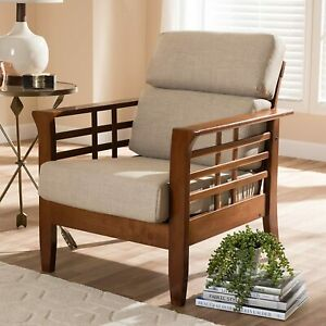 Baxton Studio Larissa Wood and Fabric High Back 1-Seater Lounge Chair New