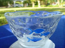 """Crate & Barrel Thick Clear Bubble Glass w Blue Fish Italy 5.5"""" Serving Bowl"""