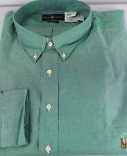 Polo Ralph Lauren Dress Shirt Mens 19 38 39 Classic Fit Green Brown Pony