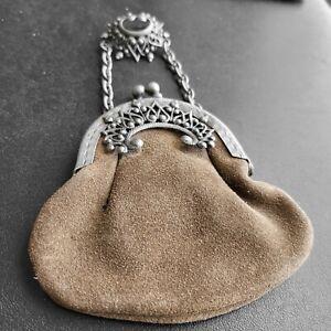 Vintage Art Deco Silver Brown Leather Suede Coin Purse Brooch Pin UNIQUE! 575