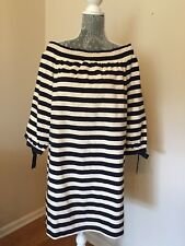 NEW $98 J Crew Striped Off the Shoulder Navy Muslin Dress G2664 Size L Sold Out