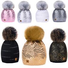 Kids Winter Beanie Hat Girls Children Knitted Girl Hats Worm Large Pom Pom Roxy