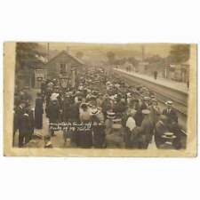 More details for military send off to 9th welsh at lampeter railway station, rp postcard unused