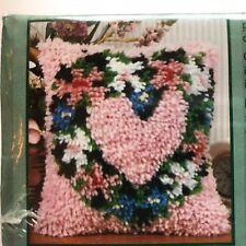 "Heart Wreath Latch Hook Kit Caron Natura P435 12"" X 12"" NOS Sealed Valentine"