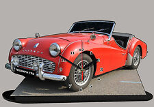 MODEL CARS, TRIUMPH TR3-02, car passenger, 11,8x 7,8 inches  with Clock