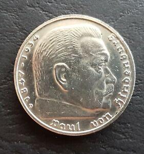 Dt. Reich 5 Reichsmark Münze 1935 D Paul von Hindenburg