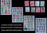 Stamp Collection British Colonies India Trinidad Barbados Mauritius Gold Coast