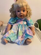 """Hard Plastic Decorative Doll Little Girl with Blond Curly Hair wearing Dress 22"""""""
