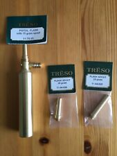 TRESO solid brass Pistol or Revolver Powder Flask PLUS TWO SPOUTS  Made in USA