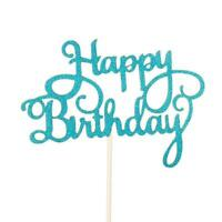 Happy Birthday Cake Toppers Glitter Calligraphy Bling Sparkle Sign U9C7