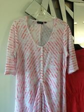 GORDON SMITH Coral Pink Salmon White Stripe Short Sleeve Tunic XL 12 14 PC
