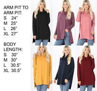 Womens Long Sleeve Cowl Neck Stretchy Knit Turtleneck Tunic Top Blouse Shirt