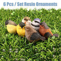 6Pcs Garden Animal Ornaments Miniature  Figurine Resin Artware Small Birds