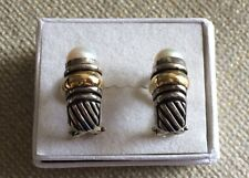 Women's / 18K Authentic Yellow Gold & 925 Silver Pearl Earrings. EUC