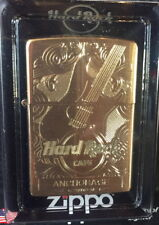 Hard Rock Cafe ANCHORAGE 2017 Gold Etched Guitar ZIPPO Lighter New Box w/Sticker