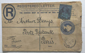 1900 Registered Cover QV Blue Stationary with 2½d Blue Croydon to Paris France