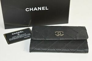 NEW CHANEL Distressed Caviar Leather Black Grey Wallet CC  Metal Logo Purse