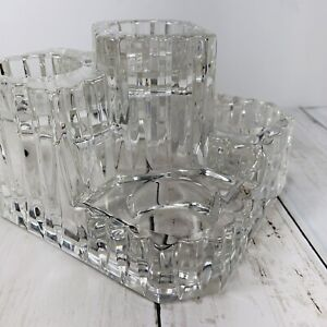 Partylite Clear Solid Glass (5) Tier Tea Light Candle Holder Made in Germany
