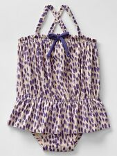 GAP Baby / Toddler Girl 12-18 Months Purple Leopard One-Piece Bathing Suit