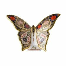 New Royal Crown Derby 1st Quality Imari Solid Gold Band Butterfly Paperweight