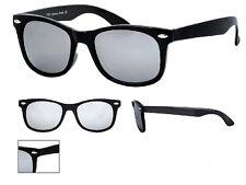 Nouveau cadre noir miroir Lunettes de soleil teinte Sombre Lentille Rétro Nerd Geek 100% UV400