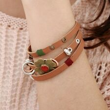 Bracelet Multirangs Simili Cuir Marron Chanvre Fleur Couleur Bronze Et Rouge