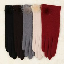 Ladies' wool fur ball gloves Y007-al