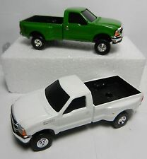 PAIR = ERTL 1:64 *GREEN & WHITE* Ford F-350 Super Duty DUALLY Pickup Truck NEW!