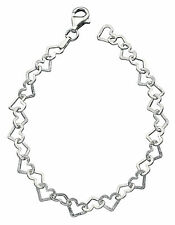Elements 1/4oz 925 Diamond-Cut Sterling Silver Open Heart Garland Bracelet