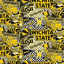 Wichita State University WSU Shockers Cotton Fabric Home State Design-Full Yard