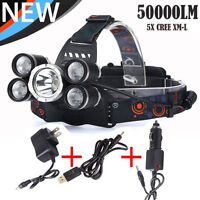 50000LM 5Head XM-L XML T6 LED 18650 Headlamp Headlight Flashlight 3PCS Charger