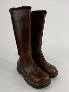 Vintage 90s Report Knee High Platform Brown Leather Boots Size 7