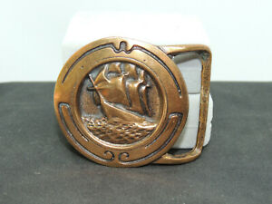 """Solid 1974 Tech Ether Guild Solid Brass  """"glory of the Seas"""" Belt Buckle (16583)"""