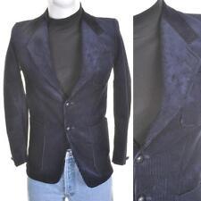 VTG 60s/70s Cord Blazer S 36R Dark Blue Cordouroy Suit Smoking Jacket Rockabilly