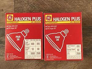 LOT OF 2 GE 25271 - 60PAR/H/FL25 PAR38 Halogen Light Bulb 600 Lumens 25 Beam NIB