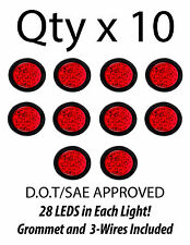 "4"" Inch Red 28 LED Round Stop/Turn/Tail Truck Light with Grommet & Wiring-Qty 10"