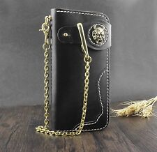 Skull Concho Biflod Long Vintage Biker Wallet Purse With Brass gold Key Chain