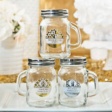 50 - Personalized Gold or Silver Metallic Glass Mason Jar  - Wedding Party Favor