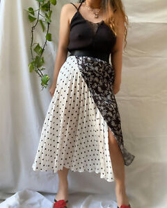 Sz 14/18 Beautiful plaid floral polka dot printed maxi skirt Exct Cond