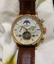 patek philippe watch automatic with genuine leather