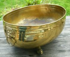 More details for very large 38cm brass country house lion handles paw feet garden planter